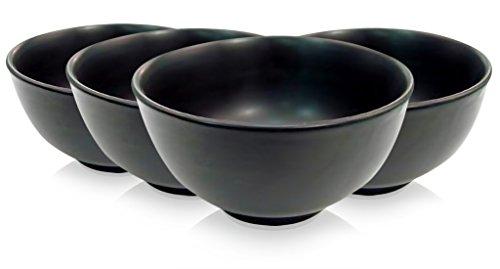 (Japanese Style Rice Bowl, 10 oz., capacity, 4-34 dia., x 2-12H, round, dishwasher, oven and microwave safe, stoneware (ceramic), non-glare glaze Black SET of 4)