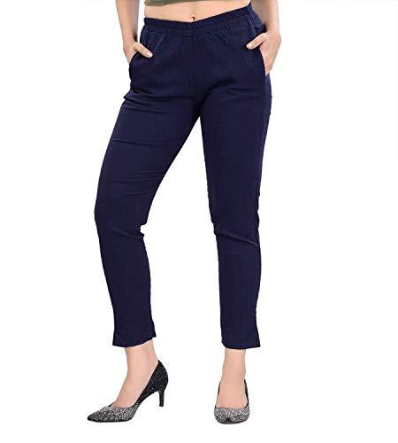 Fareto® Women's Pure Cotton Pant | Ankel Length Pants | Stretchable.