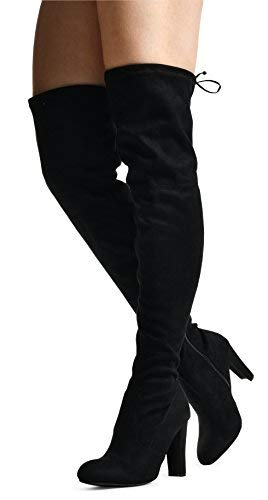 Women's Over The Knee Boots - Sexy Blake Drawstring Stretchy Pull on - Comfortable Block Heel Black SU 6.5 ()