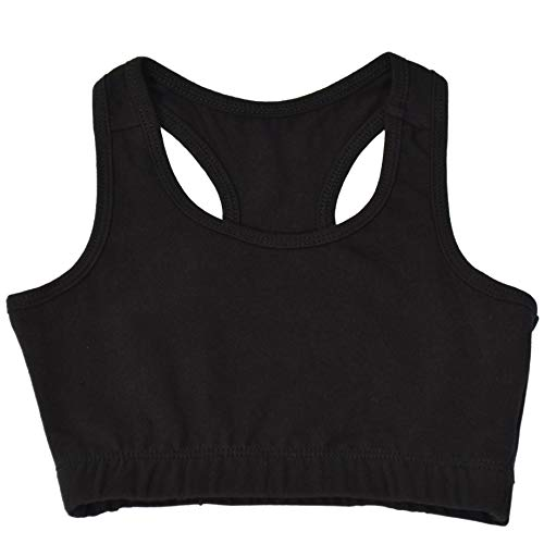 Stretch is Comfort Girl's Cotton Sports Bras Black Small