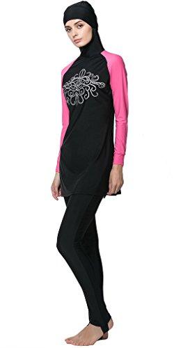 Ababalaya Femenino Muslim Swimwear islam musulmán trajes de baño Rosado