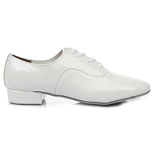 HROYL Men's Standard Jazz/Latin/Chacha/Samba Dance Shoes Leather Ballroom W-703 White 2bhqlZubIw