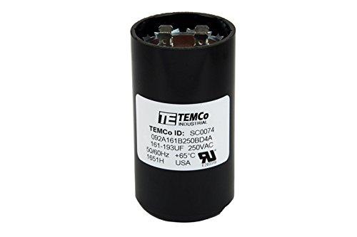 Start Capacitor 250v Mfd Motor (TEMCo Motor Start Capacitor SC0074-161-193 mfd 220-250 V VAC Volt uf Round HVAC AC Electric)
