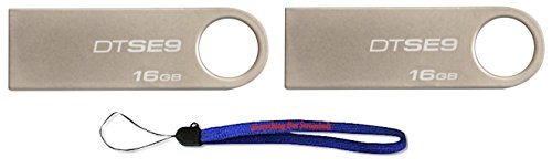 Kingston Pen Drive - Kingston Digital DataTraveler SE9 16GB USB 2.0 (DTSE9H/16GB) 16GB (2 pack) Flash Drive Jump Drive Pen Drive - w/ (1) Everything But Stromboli (TM) Lanyard