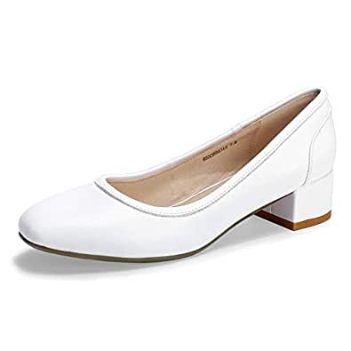 IDIFU Women's RO2 Fashion Chunky-LO Closed Square Toe Low Chunky Block Heel Slip on Pumps Shoes White Size: 5 US
