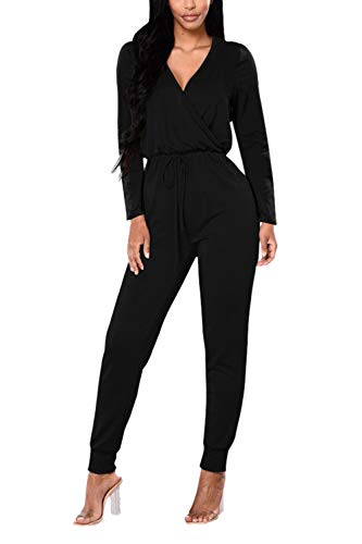 VamJump Junior V Neck Long Sleeve Drawstring Sexy Casual Jumpsuits Black Large (Long Sleeve Black Sexy)