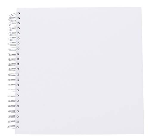 Hardcover Scrapbook - Blank Wedding Guest Book, Photo Album, Square Spiral Bound Cardboard Cover Sketchbook for Kids DIY Craft, Diary Journal, White, 40 Sheets, 12 x 12 Inches ()