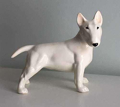 - White Bull Terrier faience figurine, handmade, dog figurine