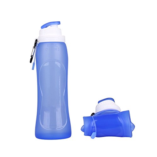 Collapsible Silicone Water Bottle FDA-approved BPA Free Leak-Proof LightweightFoldable Roll Up for Outdoors, Hiking, Camping, Biking,Sports and Traveling,17 Ounces 500mL Blue