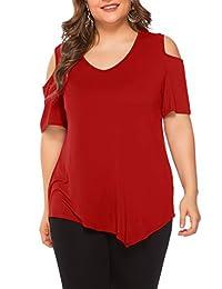 Amoretu Womens Plus Size Cold Shoulder Tops Short Sleeve V Neck Tee Shirt