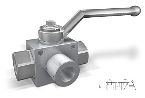 Hydraulic high Pressure 3 Way Steel Ball Valve with Fixing Holes 3/4'BSP 5075psi