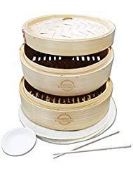 Mister Kitchenware 10-Inch Handmade Bamboo Steamer, 2 Tier