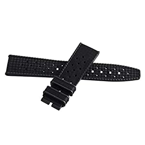Best Epic Trends 31NAiYtTCoL._SS300_ Authentic Blancpain Fifty Fathoms Barakuda Black Rubber Watch Band Men's Strap 20mm x 18mm