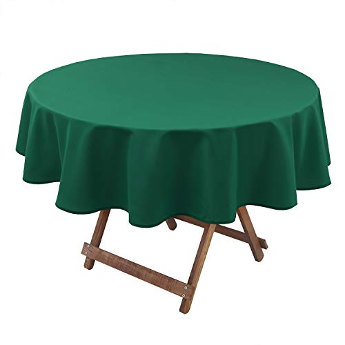 Hiasan Round Tablecloth 60 Inch – Waterproof Stain Resistant Spillproof Polyester Fabric Table Cloth for Dining Room Kitchen Party, Emerlad Green