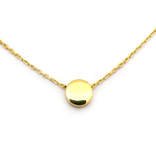 Beauniq 14k Yellow Gold Small Circle Pendant Necklace, 17