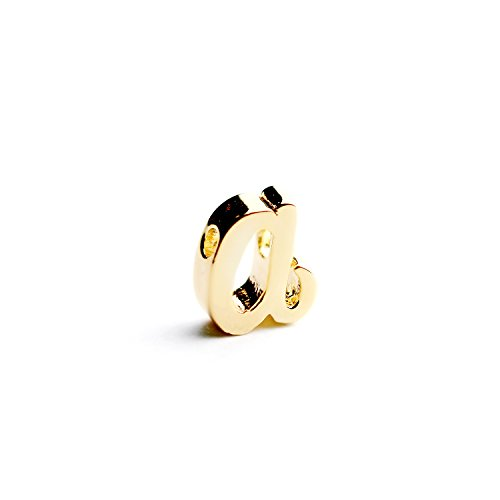 (16K Gold Plated Cursive Initial Beads Letter Charm Initials A-Z Alphabet Mignon and Mignon Supply - GRI)
