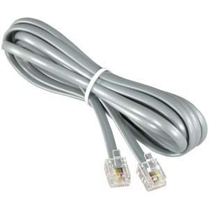 RJ11 Modular Telephone Cord Extension-- Straight Wiring, Silver (7FT)