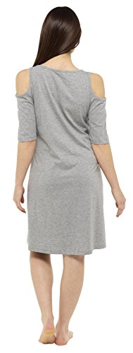 Cold da da Shoulder Grey 54 lunghe notte camicia Lora a camicia Dora pigiama donna da con notte scritte 40 taglia corte maniche maglietta 17q7xBw