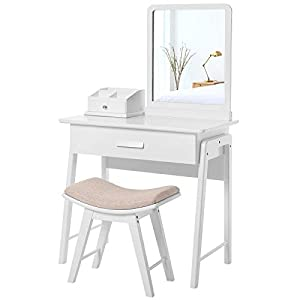 SONGMICS Vanity Table Set with Square Mirror and Makeup Organizer Dressing Table 1 Large Drawer with Sliding Rails, White URDT21W