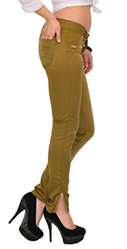 Pantalon femme skinny Pantalon femmes taille basse pantalon en satin H04 olivgrn