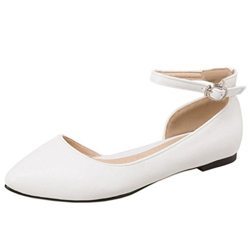 White Ballet Strap TAOFFEN Ankle Women Sandals Shoes Buckle Casual D'Orsay xzHOR6
