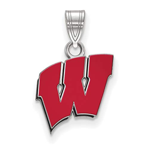 University of Wisconsin Badgers Red School Letter Logo Sterling Silver Pendant 13x12mm