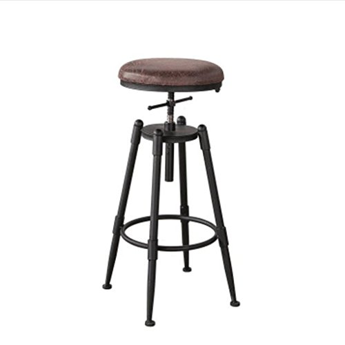 bar stool Adjustable Seat Height (68-90cm) Solid Wood Iron Bar Chairs American Retro Bar Chair High Chair Coffee Chair Lounge Chair (Color : Soft cushion, Size : A) - Soft Distortion Pedal