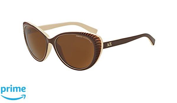 9c2fd443b8 Amazon.com: Exchange Armani Sunglasses AX4013 805873 Brown/Cream Brown  Solid 59 16 140: Clothing