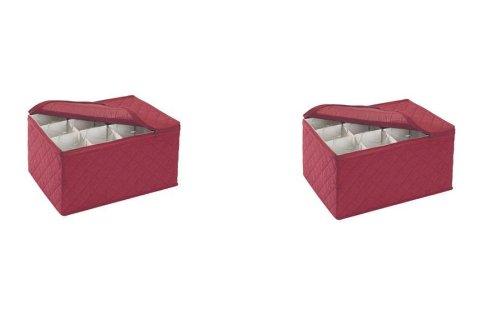 Richards Homewares Stemware Storage FOR 12 - Crimson Quilted Canvas (Crimson) 11.25''x15.5''x9.75''