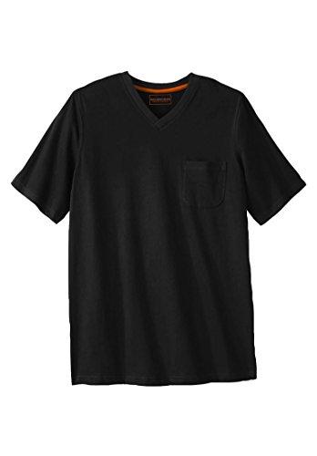 Kingsize Men's Big & Tall Heavyweight Cotton V-Neck Tee Shirt With Pocket, (Heavyweight Pocket T-shirt)
