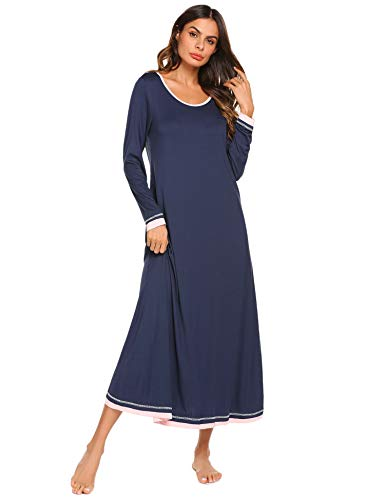 Ekouaer Sleepwear Womens Nightshirt Casual Loungewear Long Sleeve Long Nightgown,Navy,Medium