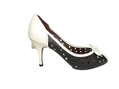 Donald J Pliner Womens Zazas Black, Ivory, Mushroom Punched Leather Peep Toe Pumps Heels Size 11 M