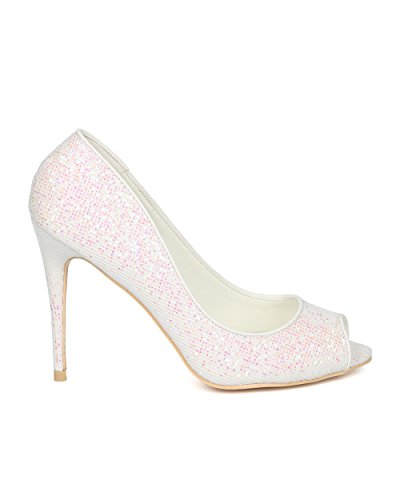 Alrisco Women Glitter Peep Toe Suola Pompa A Spillo - Hg85 By Mackinj Collection White Glitter