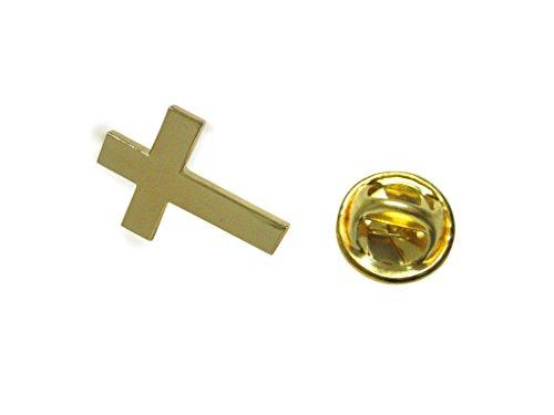 Gold Toned Religious Cross Lapel Pin - Gold Cross Lapel Pin