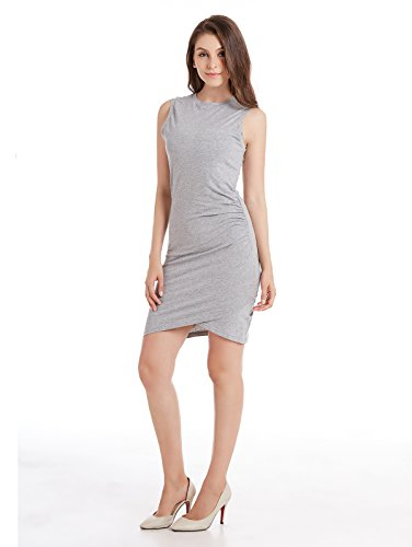 ZURIFFE Women's Summer Knitted Asymmetrical Tulip Sleeveless Sheath Dress Gray L (Sleeveless Sheath)