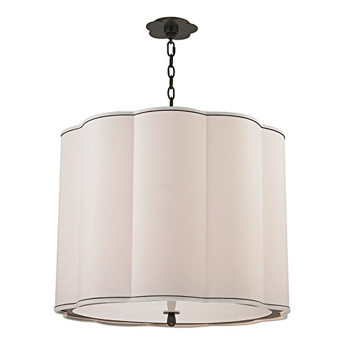 Sweeny 5-Light Chandlier - Old Bronze Finish with White Faux Silk Shade