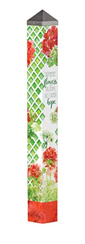 Studio M Where Flowers Bloom Art Pole Spring Geraniums Outdoor Decorative Garden Post, Made in USA, 40 Inches Tall