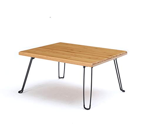 (UNICOO Bamboo Wooden Rectangular Folding Table, Folding Coffee Table, Tray Table, Children's Art Craft Study Activity Table, Outdoor Picnic Table with Foldable Hairpin Metal Legs • (Nature) )