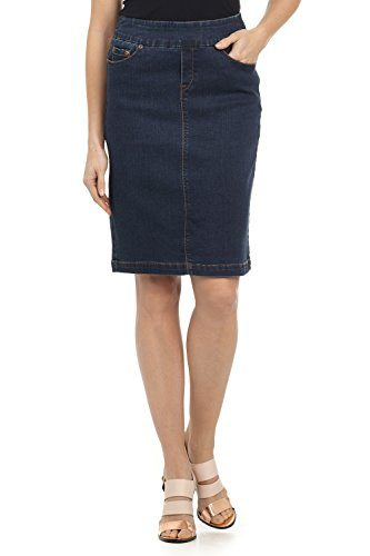 Stretch Denim Pencil Skirt - Rekucci Jeans Women's Ease in to Comfort Fit Pull-on Stretch Denim Skirt (16,Dk. Wash)