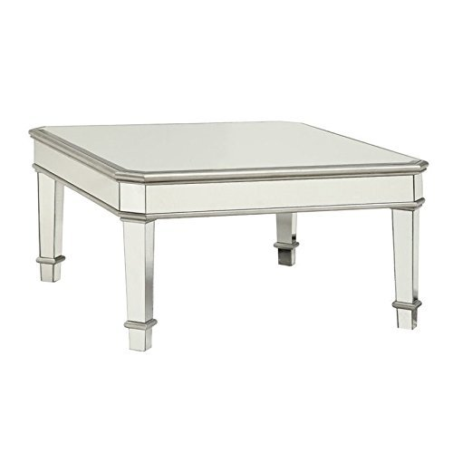 Cairns Square Mirrored Coffee Table Silver (Tables Mirrored Cocktail)