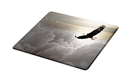 Ambesonne Eagle Cutting Board, Majestic Creature Flying Above Clouds Liberty Democracy and Freedom, Decorative Tempered Glass Cutting and Serving Board, Large Size, Pale Grey Pale Yellow Black