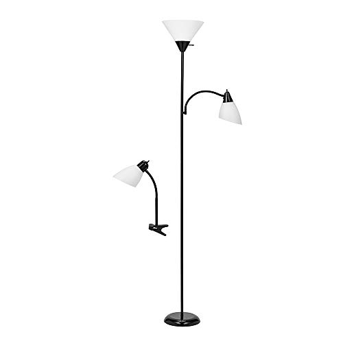 Catalina Lighting 20094-007 Modern 2-Pack Torchiere Floor Reading Light and Matching Adjustable Desk Table Lamp Set, 2 pc, Black