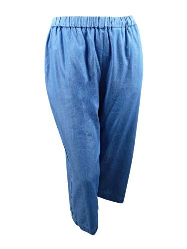 (Michael Michael Kors Women's Plus Wide-Leg Chambray Pants (2X, Light Wash) )