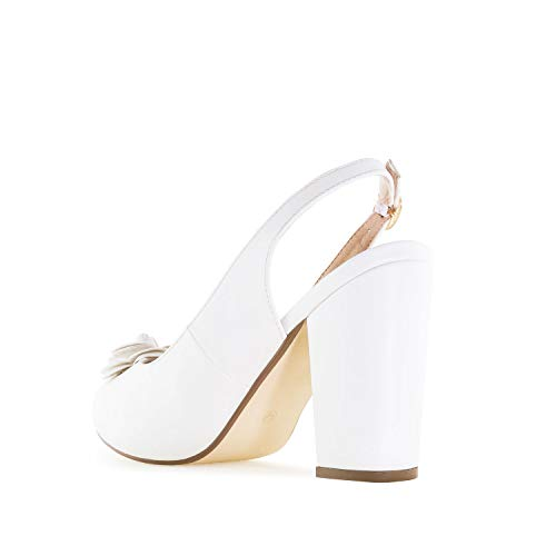 Andres amp; Faux Sizes Large Slingback White Leather Machado in Leather Shoes AM5299 Faux Petite SwdpS