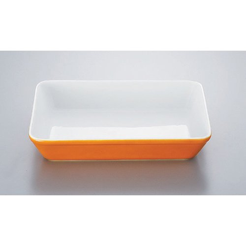 Plate utw578-11-144 [10.3 x 7.5 x 1.9 inch] Japanece ceramic Orange spray 12 inch lasagna tableware
