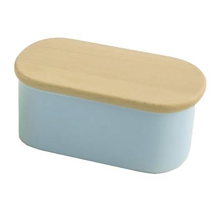 Nigella Lawson 60NL5BDBL - Recipiente para mantequilla de cerámica, tapa de madera de haya,