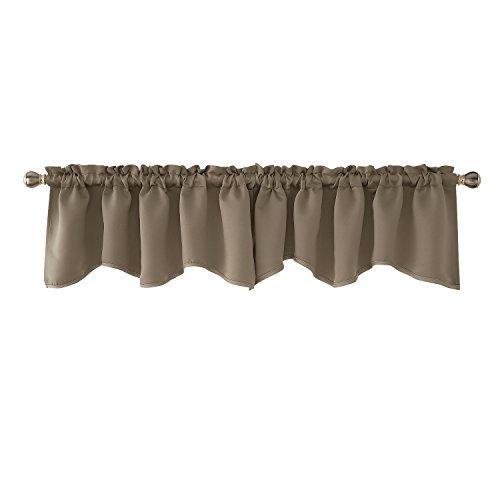 - Deconovo Khaki Valances Window Kitchen Valance Scalloped Valance Blackout Valance Curtain 52x18 inch 2 PCS