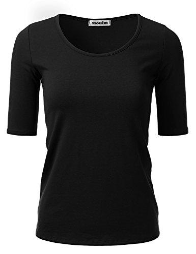 - SSOULM Women's 1/2 Sleeve Crewneck Cotton Basic Slim Fit T-Shirt Top Black M