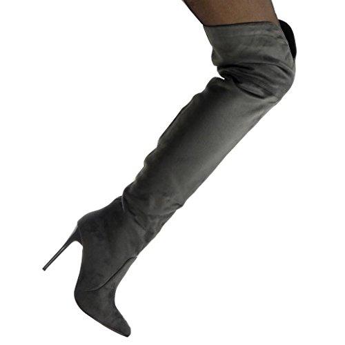 Stivali Scarpe Cavalier Morbido Spillo A Delle 10 Alto Moda Coscia Angkorly Tacco Donne 5 Cm r4Sqr