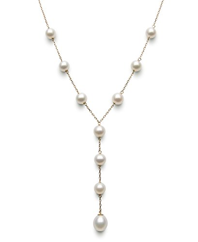 Belacqua 14k Yellow Gold Freshwater Cultured Pearl Y Necklace for Women, 17.5